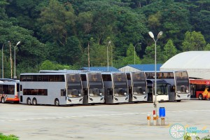 Unpainted Alexander Dennis Enviro500 buses at Woodlands Bus Park