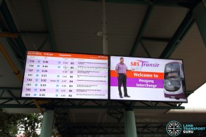Hougang Central Bus Interchange - Arrival Timings screen
