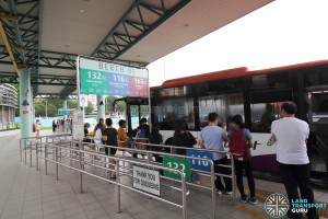 Hougang Central Bus Interchange - Passengers boarding bus at Berth B5