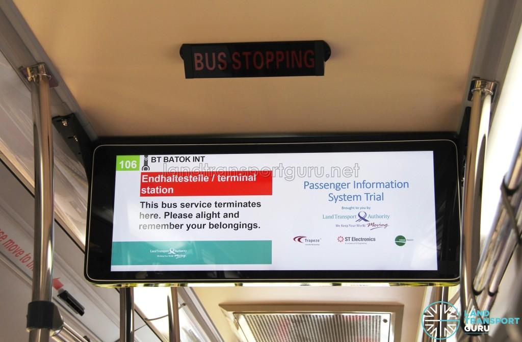 "LTA Trial PIDS arriving at the route terminus. ""Endhaltestelle"" means Terminus in German."