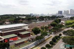 Partial aerial view of SMRT Ulu Pandan MRT Depot