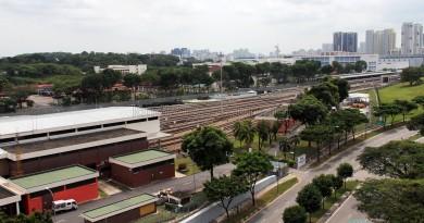 Partial aerial view of SMRT Ulu Pandan MRT Depot