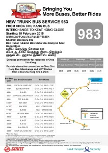 Service 983: Original route introduction poster, later retracted