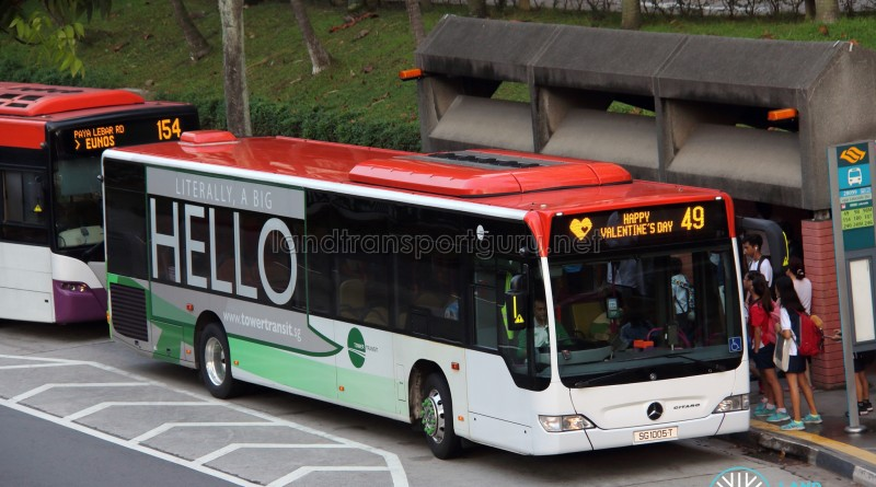 Tower Transit Mercedes-Benz Citaro (SG1005T) - Service 49, with Valentine's Day EDS scroll