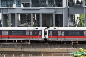 SMRT C151 train sets 027/028 and 037/038 coupled together