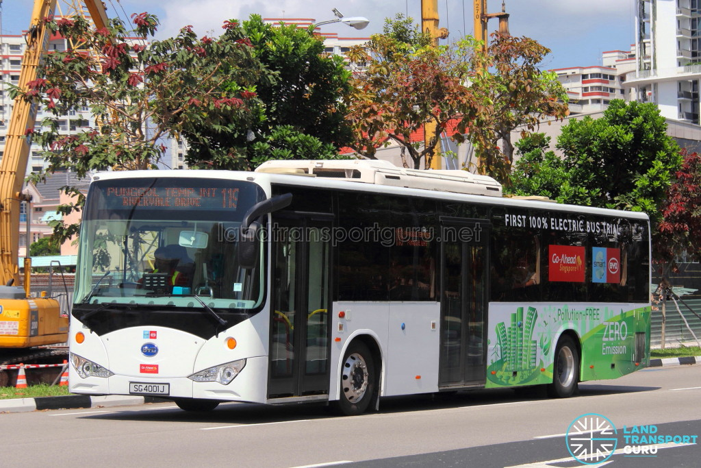 The BYD K9 Fully-Electric Bus (SG4001J) on trial with Go-Ahead, deployed to Service 119