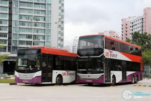 SBS Transit Training Buses - Scania K230UB (SBS8103K) and Scania K310UB (SBS7888K) side-by-side, both bodied by Gemilang Coachworks