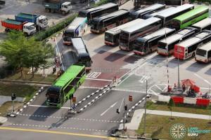 Bukit Panjang Temporary Bus Park - Ingress and egress running counter to normal traffic flow