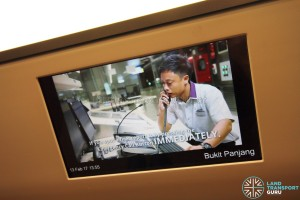 Bombardier MOVIA C951 - LCD screen playing safety videos