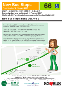 New Bus Stops along Ubi Ave 2 - Service 66
