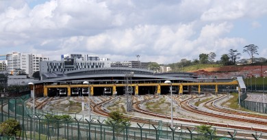 Gali Batu MRT Depot - Overhead view of Train Stabling area