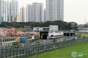 Gali Batu MRT Depot - Overhead view of Washing bay and Tunnel entrance towards Bukit Panjang