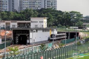 Gali Batu MRT Depot - C951 train being put into service, heading into the tunnel towards Bukit Panjang