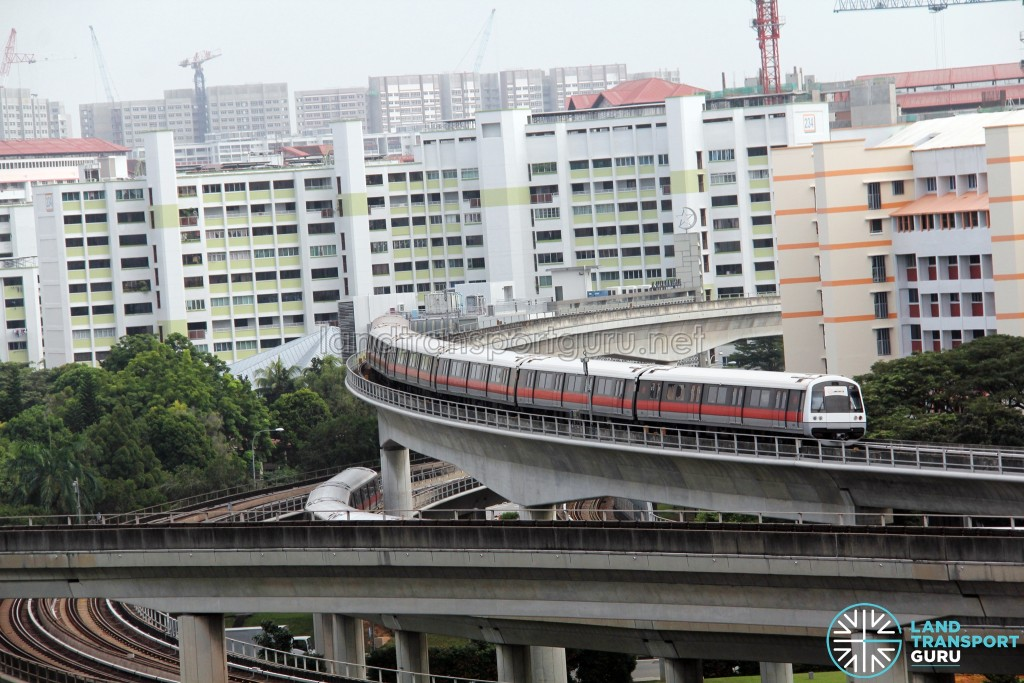 SMRT C751B train exiting Jurong East Platform A