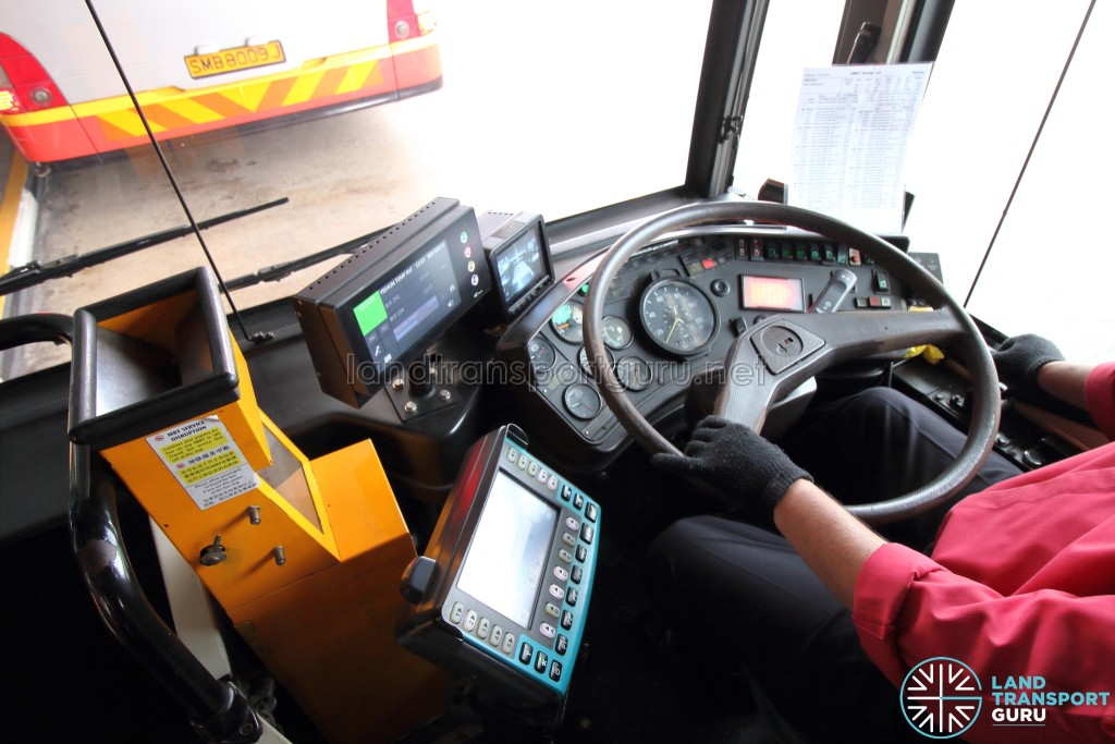SMRT Mercedes-Benz O405G (Hispano MkII) - Driver's Cab. The driver observes the middle exit door with mirrors (not shown) and the last exit door using the CCTV screen. The Trapeze CFMS unit was also installed prior to retirement.