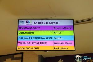Sembawang Shopping Centre Shuttle - Bus departure timings screen