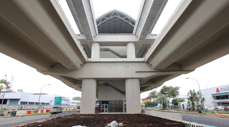 Tuas Crescent MRT Station - Head-on view showing the tracks running above the road viaduct