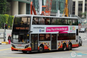 SMRT Dennis Enviro500 (SMB5050H) - Service 972, featuring banner advertising