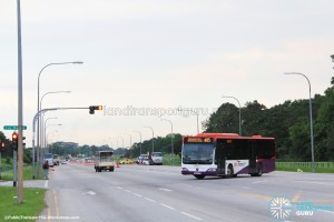 Bus Service 405 performing a U-Turn at Lim Chu Kang Rd / Lorong Rusuk Junction
