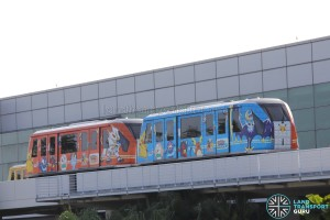 Changi Airport Skytrain (Single-car) in a Pokemon-themed livery