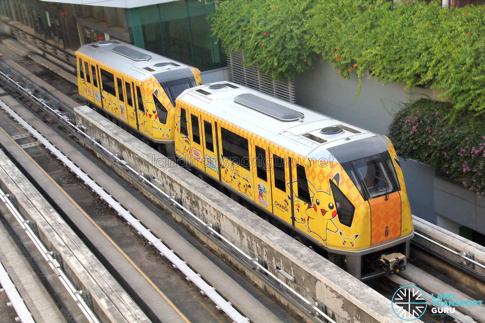 Changi Airport Skytrain (Double-car) in a Pokemon-themed livery