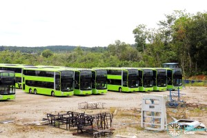 Gemilang Coachworks - Assembled MAN A95 Facelift buses in storage with the rear panel of a double-deck bus in the foreground
