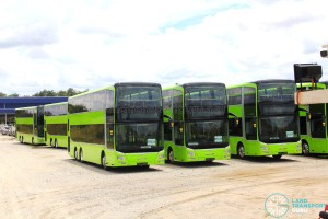 Gemilang Coachworks - Cluster of assembled MAN A95 Facelift buses in storage