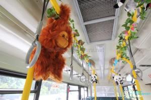 Stuffed orangutan and interior decorations onboard the Mandai Express