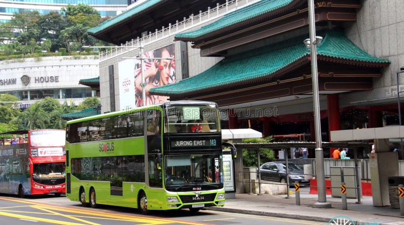 LTA's MAN Lion's City DD L Concept Bus (SG5999Z), operating on Tower Transit Service 143 along Orchard Road (outside Tang Plaza)