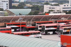 Soon Lee Bus Depot - Densely-parked buses