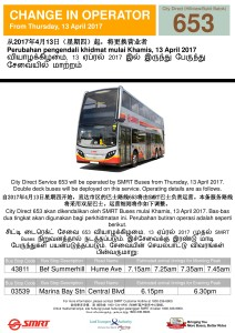 Change of Operator for City Direct 653