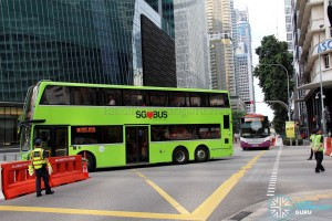 Reverse Flow Bus Only lane along Shenton Way during Car-Free Sunday Bus Diversions