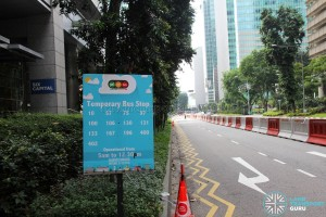 Temporary Bus Stop outside OUE Downtown I during Car-Free Sunday SG