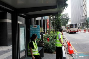 Temporary Bus Stop at Taxi Stand outside 6 Raffles Quay during Car-Free Sunday SG