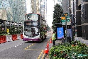 Bus Service 196 calling at the Temporary Bus Stop along Raffles Quay during Car-Free Sunday SG