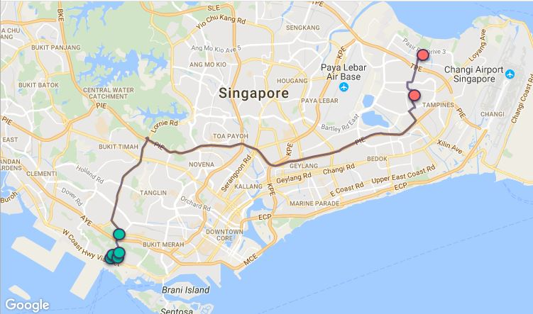 Route G32 at a glance. Map Image: Beeline.sg