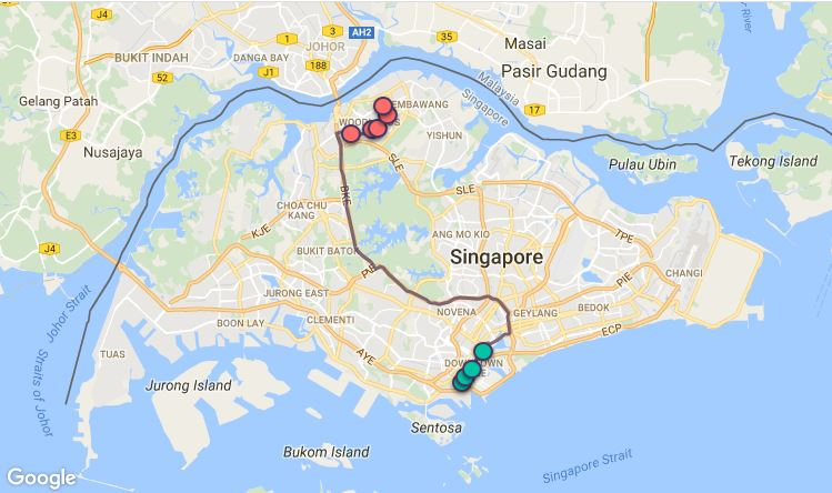 Route G34 at a glance. Map Image: Beeline.sg