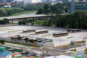 Ulu Pandan Bus Depot - Bus Park, with articulated buses occupying two 12-metre bus lots
