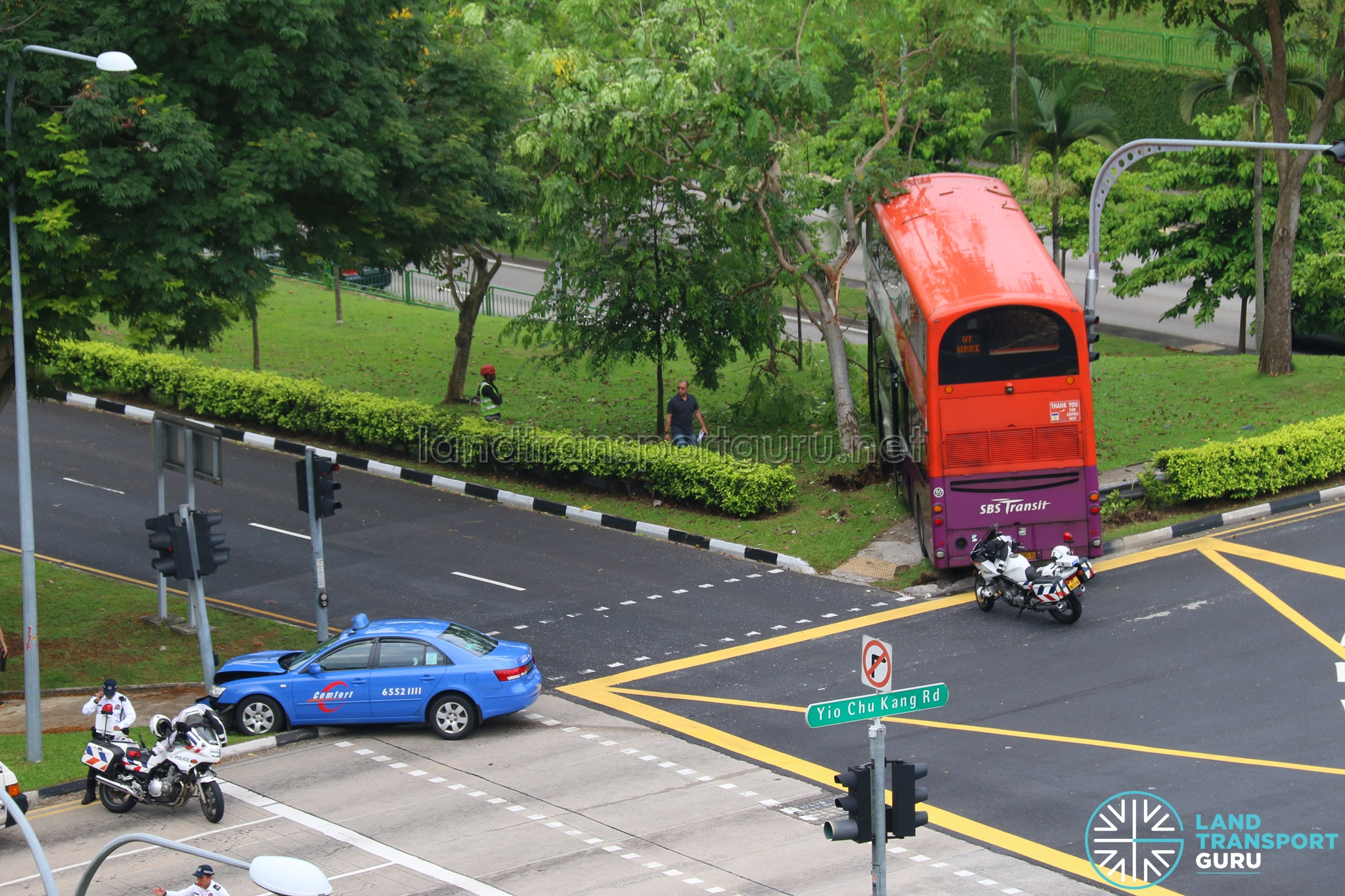 Overhead View Of Accident Site The Bus Stopped Metres Away From A Steep Embankment