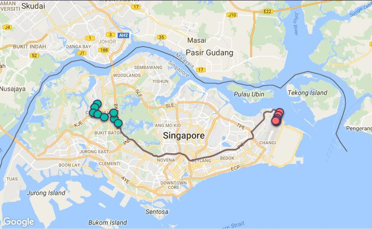 Route G46 at a glance. Map Image: Beeline.sg
