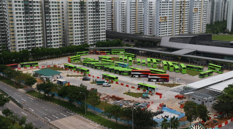Aerial View of Punggol Bus Interchange Extension Construction (May 2017)