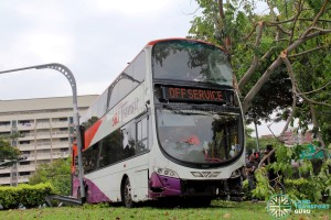 Front view of accident bus