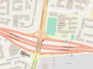 Map view of the Accident Site, marked with a red star. Map Source: OpenStreetMap