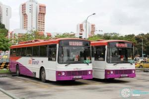 SBST Volvo B10M MkIIIs: SBS685A and SBS737J at Queen Street Bus Terminal