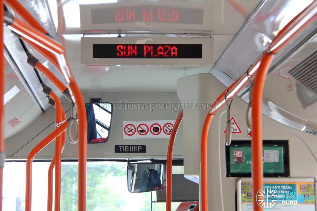 Mercedes-Benz O405G (Hispano Habit): Newer Passenger Information System showing next bus stop (Sun Plaza) (Front cabin)