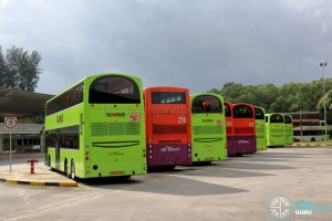 Buses Parking at Tuas Bus Terminal
