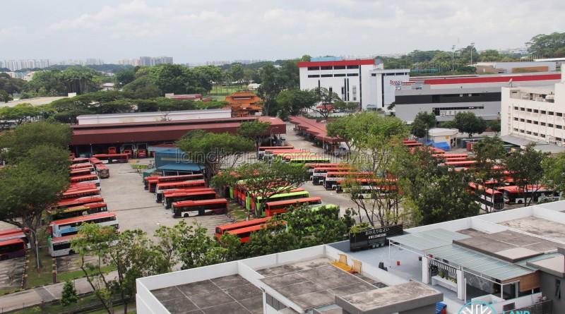 Overhead view of SBS Transit Ang Mo Kio Depot