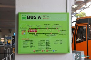 Bus Route information board for Sentosa Bus A