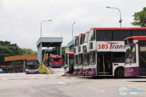 Hougang Bus Depot - Bus park as seen from Kim Chuan Road