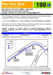 New Bus Stop for Service 199 from 23 Jul 2017